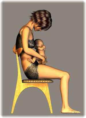 授乳時の姿勢(悪い例)